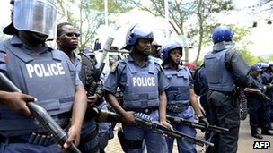 Armed police in Rustenburg, South Africa (27 October 2012)