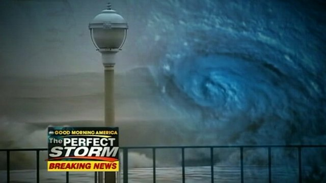 ABC news graphic showing battered boardwalk and satellite image of Sandy