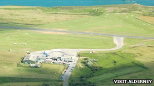 Aerial view of Alderney Airport
