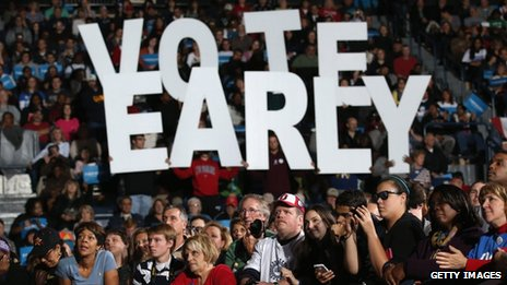 Obama supporters at a rally in Ohio on Monday raise letters spelling Vote Early