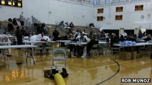 People evacuated because of flooding are staying at this high school near Moonachie in New Jersey
