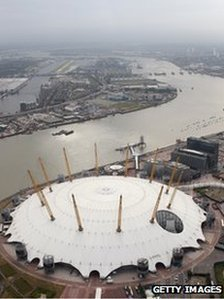 Aerial view of the Greenwich Peninsula