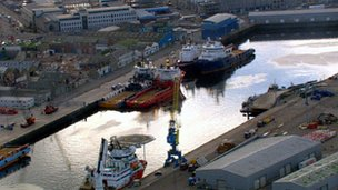 Oil vessels in Aberdeen Harbour