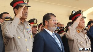 Egyptian President Mohammed Mursi (centre), Field Marshal Mohamad Hussein Tantawi (left) and ex-Chief of Staff Sami Annan