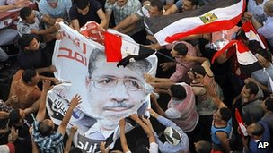 Muslim Brotherhood supporters with poster of Mohammed Mursi in Tahrir Square