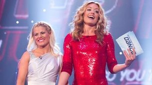 Cat Deeley (right) with dancer Kirsty Swain