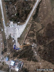 A satellite image shows the site, lower right, of the Tu-154 plane crash outside Smolensk, 10 April 2010