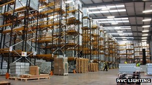 NVC Lighting warehouse in the UK