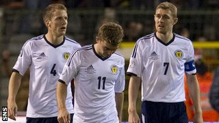 Scotland players at the final whistle following a 2-0 loss in Belgium