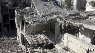 Image released by Syrian opposition's Shaam News Network on 30 October 2012 shows destruction in the Syrian capital, Damascus, following shelling by a government forces helicopter.