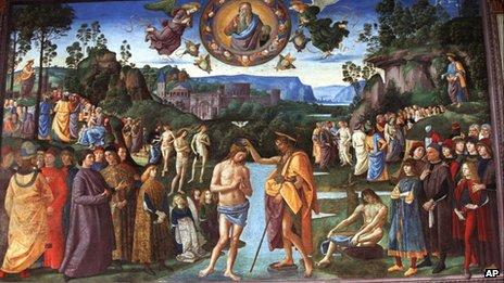 The Baptism of Christ fresco by Pietro Perugino