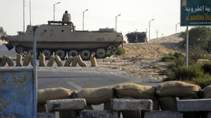 Egyptian security forces on the Sinai peninsula in August 2011
