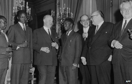 Rwandan President Gregoire Kayibanda with Belgian and Rwandan officials in Brussels in December 1961