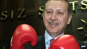 Prime Minister Erdogan after meeting Turkish Olympic boxing team in June 2012