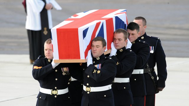 Union flag covered coffin