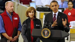 President Barack Obama at the Red Cross HQ