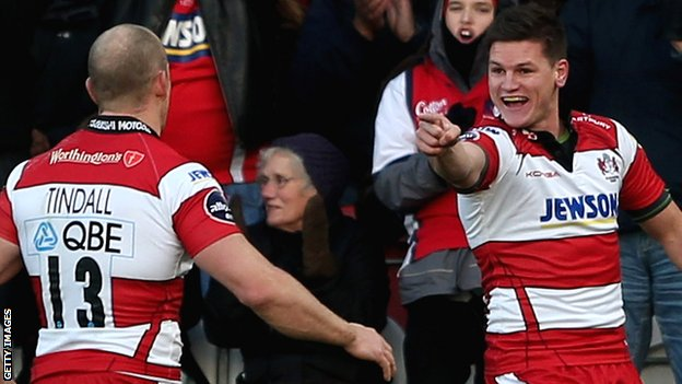 Freddie Burns (right) celebrates a fine solo try with former England captain Mike Tindall