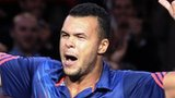 Jo-Wilfried Tsonga celebrates his first round win
