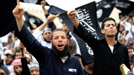 Tunisian Islamists attend a rally on May 20, 2012 in Kairouan