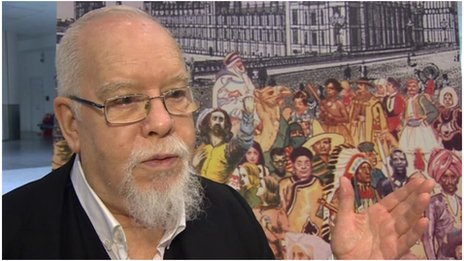 Peter Blake in front of image