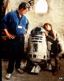George Lucas with Jake Lloyd (right) on the set of The Phantom Menace