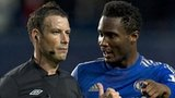 Juan Mata, Mark Clattenburg and John Mikel Obi