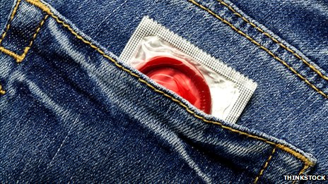 A condom in a jean pocket