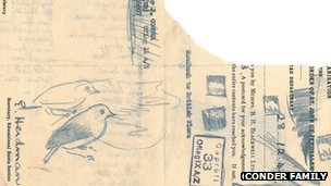 Sketch of two birds on scrap paper