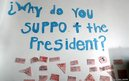 "A sign hangs on the wall at an ""Obama for President"" office in Denver, Colorado"