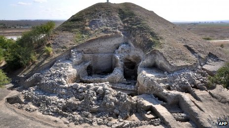 A photo provided by the Bulgarian National Institute of Archaeology and taken on 26 September 2012 shows the remains of a small settlement made of two-storey houses near the town of Provadia in eastern Bulgaria