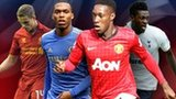 Left to right: Jordan Henderson, Daniel Sturridge, Danny Welbeck, Emmanuel Adebayor