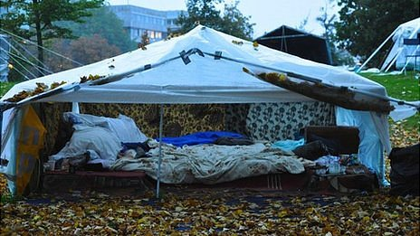 A tent at the Iraqi refugee camp in The Hague
