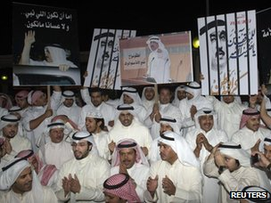 Opposition supporters demand the release of Mussallam al-Barrak in Kuwait City (30 October 2012)