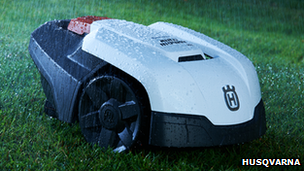 Husqvarna robot lawnmower in the rain