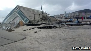 Destruction in the shoreline in Belmar, New Jersey, 30 Oct 2012. Photo: Rajiv Kohli