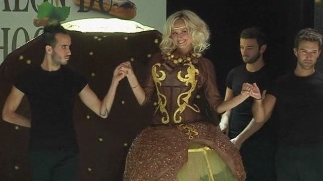A model wearing a chocolate dress