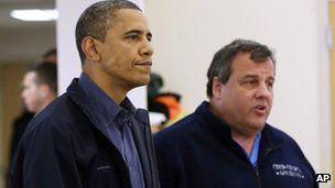 President Barack Obama and New Jersey Governor Chris Christie visit the Brigantine Beach Community Center to meet with local residents, 31 October 2012