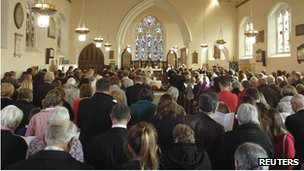 A service for April Jones was held at St Peter's Church in Machynlleth shortly after she went missing
