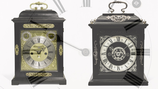 Thomas Tompion Clock and Joseph Knibb clocks (Courtesy of Sotheby's)