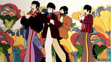 A still of The Beatles in The Yellow Submarine