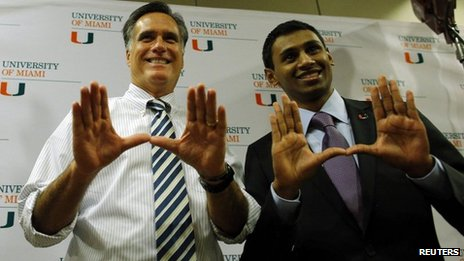 Romney and a supporter at the University of Miami
