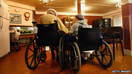 Oldsters in a hospice room