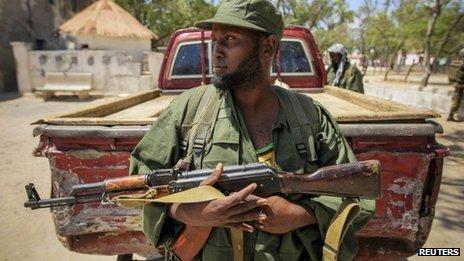A Ras Kamboni militiaman in Kismayo, Somalia