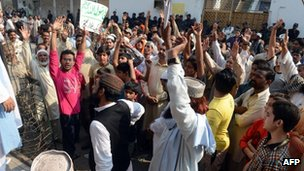 Protesters outside the Farooqi Girls' High School