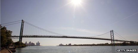 Ambassador Bridge which links Detroit in Michigan and Windsor in Canada