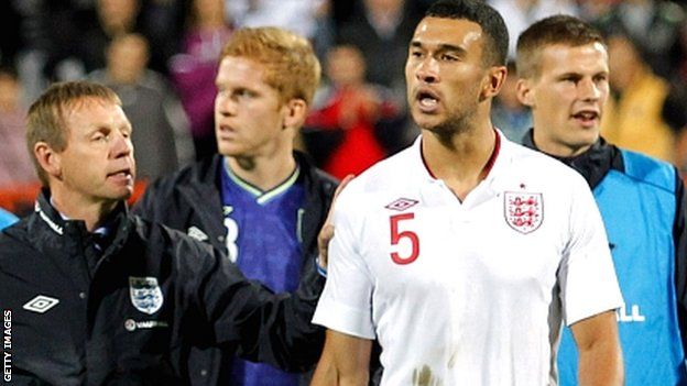 Steven Caulker (white shirt) at last month's acrimonious Under-21 play-off