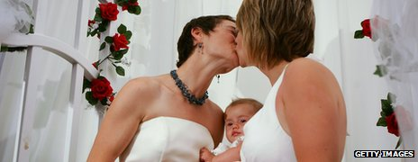 Two women kissing as they get married