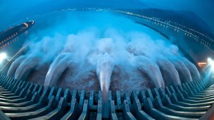 Water is discharged from the Three Gorges Dam on 24 July 2012