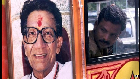 A driver reverses an election campaign vehicle bearing the portrait of Bal Thackeray, chief of the militant right-wing Hindu Shiv Sena party, in Bombay Wednesday, September 1, 1999