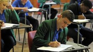 Students sit GCSE exam